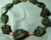 Emerald Green Turquoise and Gold Necklace