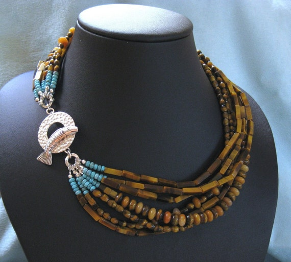 Muti-Strand Tiger Eye Necklace with Fish Clasp