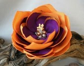 RESERVED for Lozzby  Purple orange flower hair clip or pin - Shipping included.