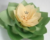 Light Green And Ivory Cream Flower Pin Or  Hair Clip