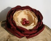 Maroon And Ivory Cream Flower Pin Or  Clip