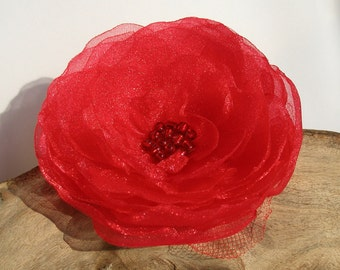 Romantic Red Organza Flower Pin Or Hair Clip