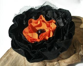 Halloween Black Orange Flower Pin Or Hair Clip
