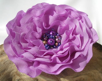 Lilac Flower Pin Or Hair Clip With Beads In The Centre