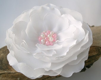 Snowy White Bridal Flower Hair Clip Or  Pin