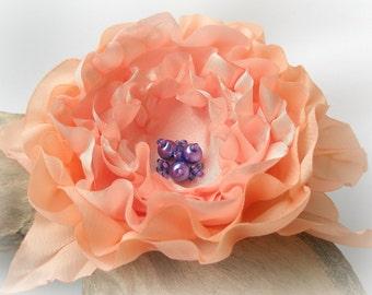 Light Peach Flower Pin Or Hair Clip