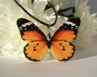 Orange Black Butterfly Polymer Clay Necklace