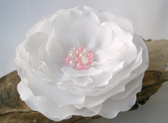 Snowy White Bridal Flower Hair Clip Or  Pin