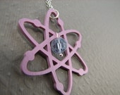 Atomic Necklace Science Jewelry in Purple Lilac Lavender