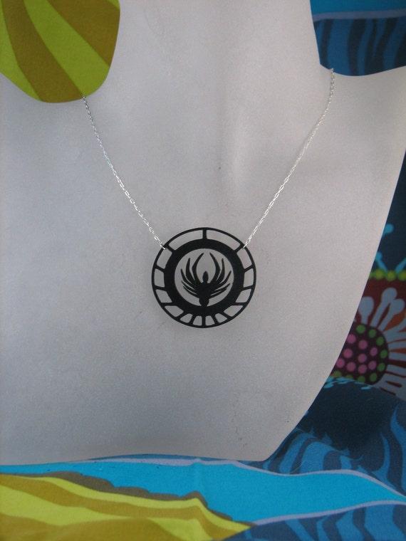 Black Battlestar Galactica Logo Cutout Necklace