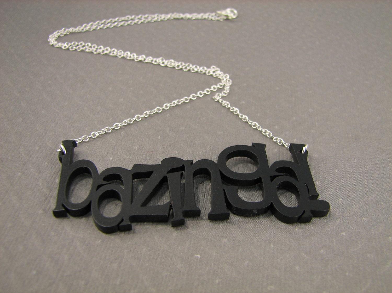 items similar to big bang theory bazinga necklace nerd