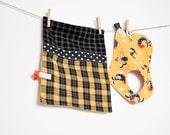 Bib and Burp Cloth, Rooster Egg, plaids, polka dots and gingham, funky fun baby gift, ready to ship