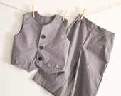 Custom Order Wedding Boys Vest Pants Old Fashion Days Quirky Britches Bow Tie Graphite Flannel Cotton Black sizes 1-8 unisex Vintage Style