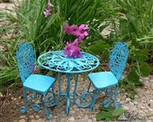 Blue set of Table and Chairs for the Garden  Dollhouse  Miniature Vintage French Style