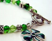 Four Leaf Clover - Green and Silver Celtic Bracelet