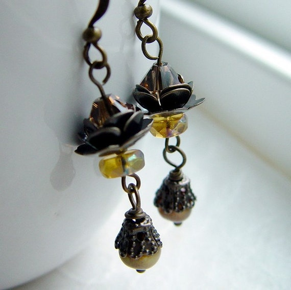 Topaz Rose - Romantic Crystal and Brass Earrings