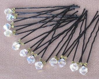 Wedding Crystal Hair pins Bridal Swarovski Crystal One Dozen Swarovski Crystal AB Polished Black Up Do 12 Pins Hair Bling H002