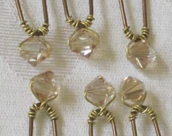Wedding Hair Pins Crystal 6 Swarovski Golden Ivory Crystal Bronze Up Do Bobby Pins by lakehousejewelrybd H006