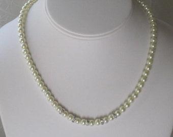 Swarovski Strand Pearl Necklace Bridemaid Gift Swarovski Ivory Pearl Necklace Jewelry Crystal Ivory Pearl Swarovski Crystal Rondele B040