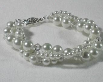 Wedding Bracelet Swarovski Pearl Bridesmaid Gift Twisted Strands Bridal Jewelry Crystal White Pearl Triple Strand Bracelet B045