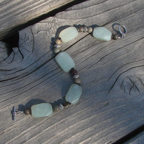 Frost Green & Khaki Stone Bracelet