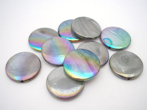 Gray Mother Of Pearl Coin Beads 18mm AB Finish - 10 pcs