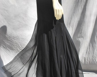 REDUCED Vintage 80's fishtail silk skirt long sheer sexy FAB s6 COUTURE designer sheer skirt by thekaliman