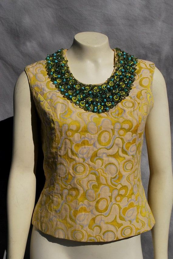 Vintage 60's hand beaded brocade top blouse MAD MEN ramone couturier s10 by thekaliman