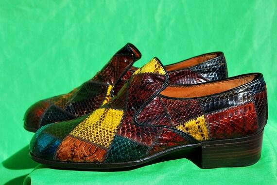 REDUCED Vintage 70's croc snake skin color block patchwork men's shoes s8 1/2 B NUNN BUSH by thekaliman