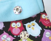 13 in Padded Laptop Sleeve- Snoozing Owls with teal fleece lining