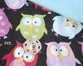 "Snoozing Owls 13"" Padded Laptop Sleeve with teal fleece lining"