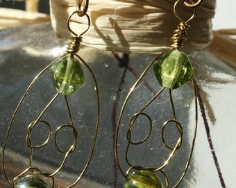 Green and gold wire earrings