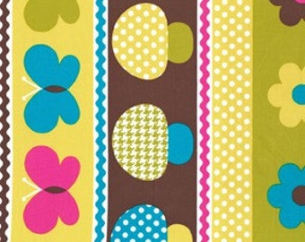 Michael Miller Caribe Mushroom Border Fabric 1 YD (More Available) Glamping Glamper Camping