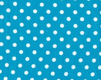 "Michael Miller Teal Dumb Dots fabric 20"" X 44"" Remnant end of bolt"