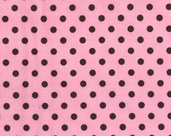 Michael Miller Pink brown Dumb Dot Fabric end of bolt 1 yrd 32""