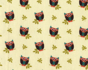 Michael Miller Cream Who's Hoot Owl Fabric 1 YD (More Available)
