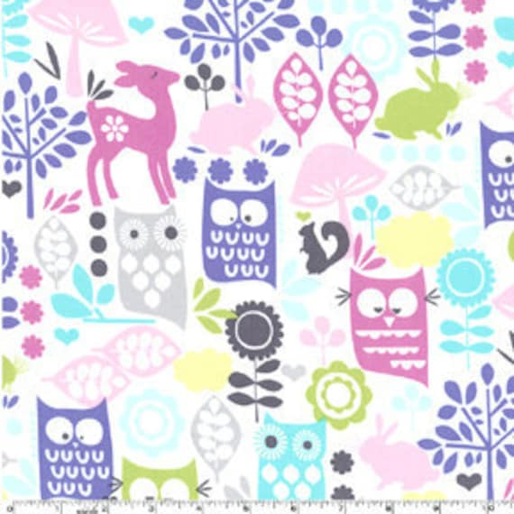 """Michael Miller Orchid Forest Life Deer Owls Fabric 1 Yard & 5"""" remnant end of bolt"""