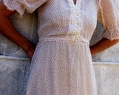 The Rose Cottage- Vintage S cream with pink roses prairie dress