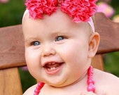 Hot Pink Chiffon Bow - Baby Pink Headband - Custom Sizing for all ages