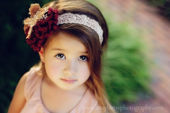 Butterfly Kisses - Maroon & Camel Lace Headband - Custom Sizing for all ages