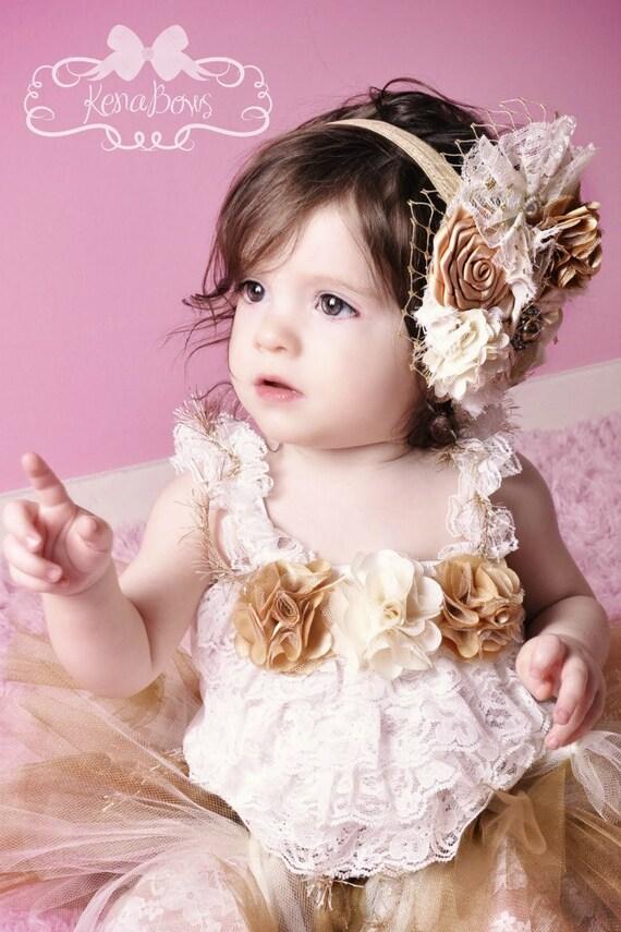 Golden Vintage Princess - Holiday, Pageant, Birthday Tutu - 3 Piece Ensemble - Infant/Toddler