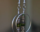 Green Glass Bead Hoop Dangle Earring 4501