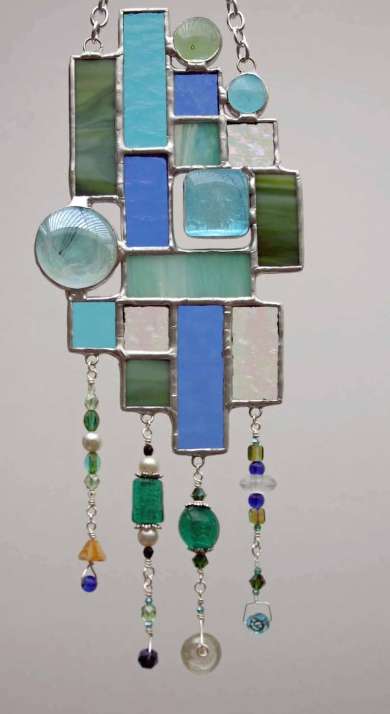 Green and Blue Sun catcher with Beaded Dangles