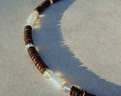 Moon Drop Necklace in Coconut Wood and Moonstone - Mens Necklace