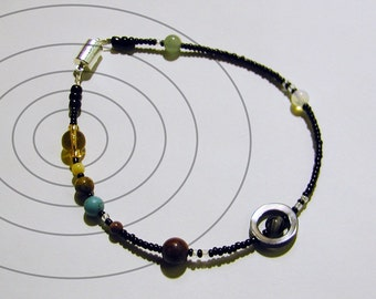 MiniVerse - Solar System Anklet - Proportional Distances in Glass and Stone - SMALL ANKLET 9.5 inches - Planets - Astronomy - Chain of Being