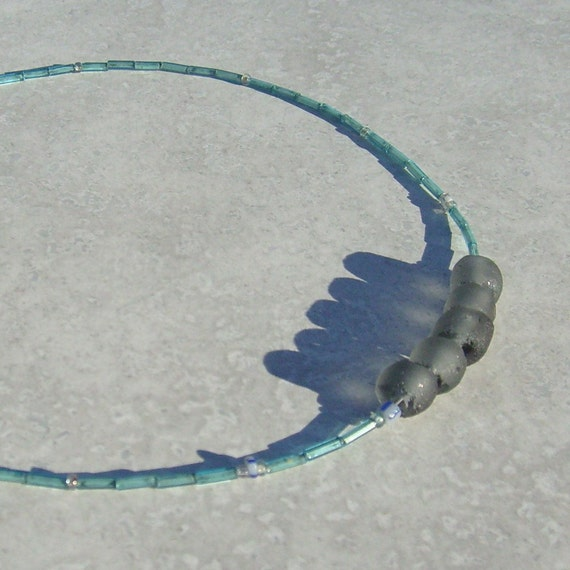 Blue Hawaii - Recycled Bottle Glass Necklace in Frosty Blue - Recycled and Upcycled Beads - Summer Necklace - Beach Style