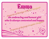 Pink Personalized Name Meaning Print for a girl named Emma