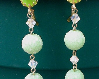 Exquisite Vintage Retro Green Dangle Earrings.