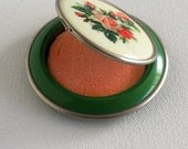 Vintage Powder Compact, Green Enamel with Pink Rose Bouquet Design  SALE 30% OFF