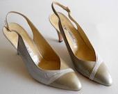 vintage 1980s Raphael slingback heels, white and light tan, camel